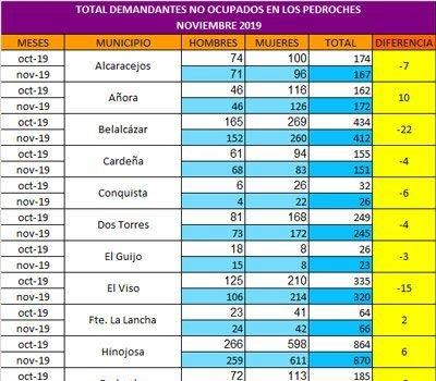 El mes de noviembre 2019 ha dejado en Los Pedroches ciento noventa y un demandantes de empleo menos que en el mes de octubre. En total el número de desempleados en Los Pedroches se sitúa en 5.569.