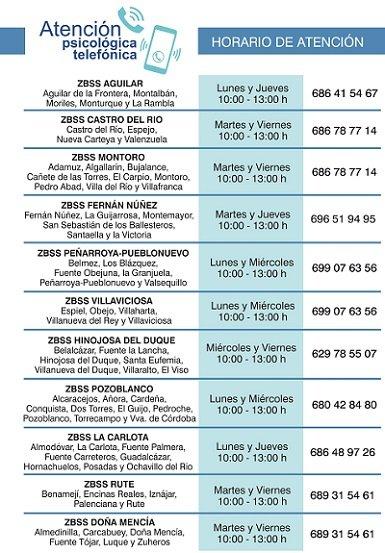El presidente del Instituto Provincial de Bienestar Social (IPBS), Francisco Ángel Sánchez, ha informado hoy de la puesta en marcha de un servicio de atención psicológica telefónica con el objetivo de dar apoyo a la población durante la situación excepcional provocada por el COVID-19. Estos son los teléfonos de las Zonas Básicas de Servicios Sociales de Hinojosa (629785507) y Pozoblanco (680428480). https://elquincenaldelospedroches.es/ipbs-servicio-atencion-psicologica-telefonica-poblacion/